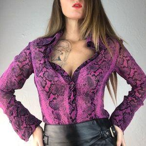 BEBE Snakeskin Purple Button Down Sheer Top Small
